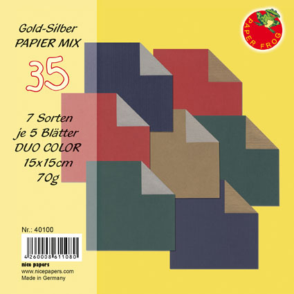 Origami Papier DUO COLOR Gold-Silber Mix 15x15cm