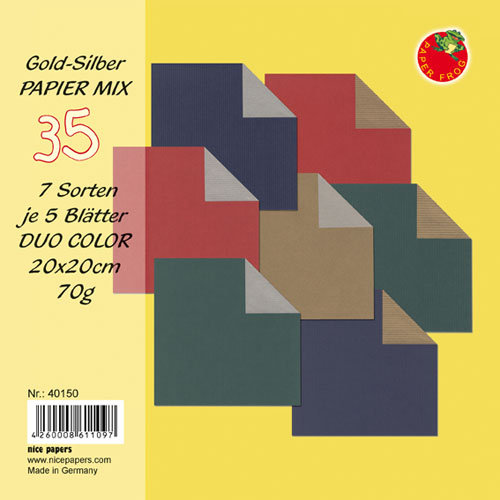 Origami Papier DUO COLOR Gold-Silber Mix 20x20cm